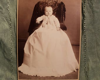 Cabinet Card of young baby in linen dress with locket, Grambo - Scranton PA, 1900 photography, christening dress, Baby in chair