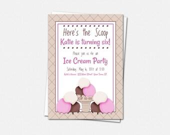 Ice Cream Party Invitations - Birthday Party Invitations - Kids Birthday Party Invitations - Ice Cream Invitations