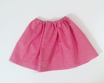 Skirt red and white gingham baby 3 to 3 years