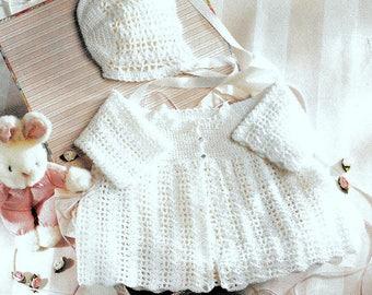 Vintage Crochet Pattern   Baby Jacket and Bonnet  Coat Cardigan Hat  Christening  Pram Set   3ply  16 to 20 Inch Chest