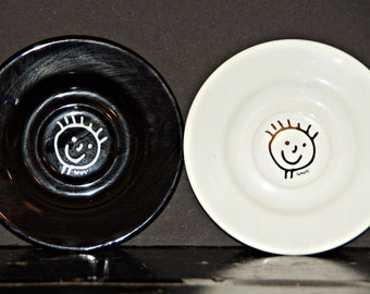 Skandal Plate Set, Bread, Salad, Snack, Luncheon, Black, White, Smiley Face, Waechtersbach, Germany, European, Tableware, 1980s, Spiked Hair