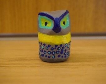 Miniature Owl Figurine 2, owl figure, ceramic owl, miniature ceramic owl, miniature animal, mini animal, tiny, little owl Active