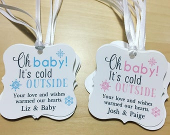 Oh Baby It's Cold Outside Favor Tags, Snowflakes Themed Favor Tags,Baby It's Cold Outside Favor Tags,Winter Baby Shower Favor Tags
