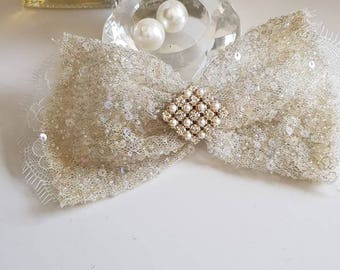 Bow, wedding bow, bridal  bow ,sequince  bow.