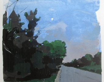 High Road at Dusk, Original Summer Landscape Collage Painting on Paper, Stooshinoff