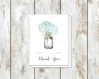 Hydrangea Stationery - Southern Stationery - Classic Thank You Card - Folded Watercolor Hydrangea Cards