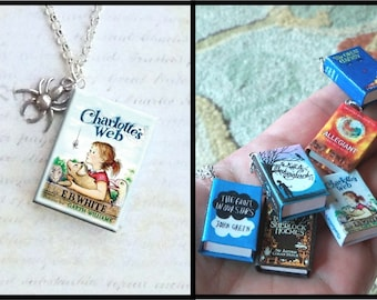 Charlotte's Web - With Spider Charm -Micro Mini Book Necklace