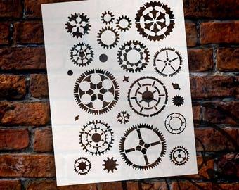 "Steampunk Gears - Art Stencil -8 1/2"" x 11"" -  STCL155 - by StudioR12"