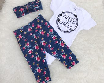 """Tiny Floral """"Little Sister"""" Set - Hearts"""