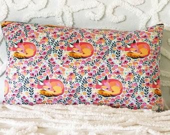 Fox cushion cover, mint velvet pillow, seafoam velvet cushion, kids decor, nursery decor, animal cushion, kids bedroom, lumbar pillow, cute