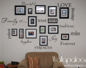 Family Wall Decal - Set of 12 Family Words - Family Room Wall Decals - Wall art & Family wall decal | Etsy