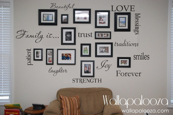 & Family Wall Decal Set of 12 Family Words Family Room Wall