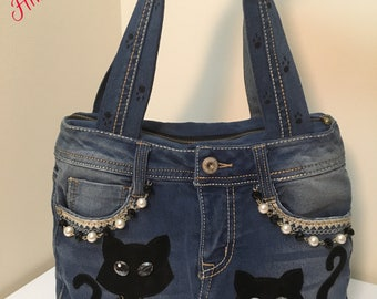 Handmade Handbag for women, denim, blue jeans handbag, cats