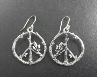 Peace Sign Drop Earrings Vintage Bohemian Fashion Jewelry Sticks Twigs Leaves Hippie Earth Lover Prosperity Silver Tone Hooks Pagen Festival