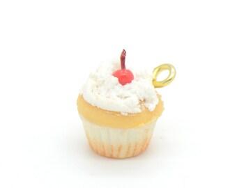 1 - Cupcake Charm, Hand-Made Vanilla Cake with Cherry Whip Cream Cupcakes Birthday Party Ice Cream Cherry Vanilla Cake (F010) 50DFL4