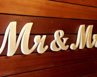white and gold glitter Mr & Mrs wedding top table decor, available DIY -unpainted, painted, glittered