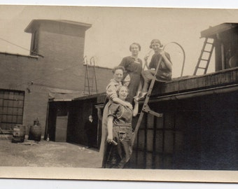 Edwardian Women On The Roof Antique Snapshot Black And White Photo Antique Architecture Victorian Fashion Photograph Fun On The Rooftop