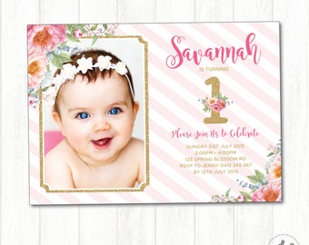 Floral Birthday Invitation. Pink and Gold First Birthday Printable Invite. Photo Invitation. Watercolor Flowers. Floral Baby Shower. FLO8