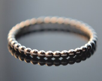 Beaded Ring, Sterling Silver Ring, Bead Ring, Stacking Ring, 925 Sterling Silver, Knuckle Ring, Pinkie Ring