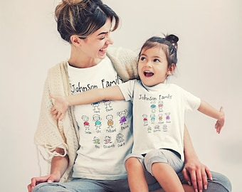 Custom Mom | Mother | Birthday Gift  | Mothers's Day | Family Reunion | Stick Figure Saying T-Shirts