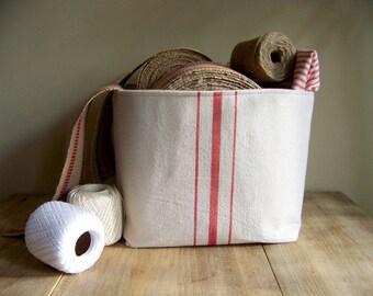 free shipping - grainsack basket red stripe / vintage style / canvas basket / storage basket / organization / gift basket / red stripe