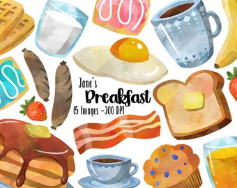 Watercolor Breakfast Clipart - Morning Download - Instant Download - Toast - Coffee - Tea - Waffles - Bacon - Muffin