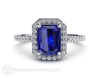 Blue Sapphire Engagement Ring Sapphire Ring Diamond Halo in 14K or 18K Gold Platinum or Palladium Unique Engagement Blue Gemstone Ring