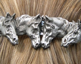 Horse Jewelry Four Horses barrette lead free pewter sculpture, French clip
