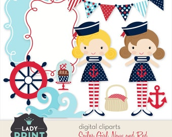 Little Cute Sailor Nautical Girl Printable Digital Cliparts. For Personal and Small Commercial Use.