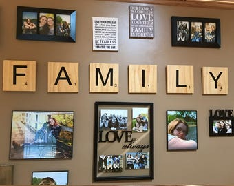 Family scrabble letters - wall arrangement picture display
