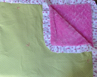 Polka Dots and Butterfly Blanket/Throw, Green, White, Pink, Super Soft & Cozy, Rosebud Minky