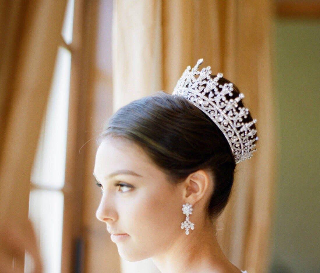 Bride Wedding Crown: Full Bridal Crown Swarovski Crystal Wedding Crown PORTIA