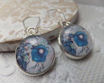 Aqua Petunia Glass Print 16mm Print Glass Earrings hung from silver plated nickel free kidney hooks