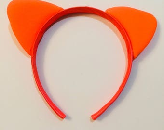 Cute Neon Orange Kitty Cat Ears Headband