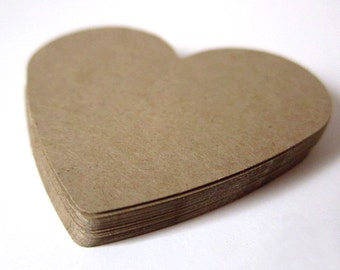 "Set of 24 - 2 1/2"" inches wide - KRAFT - Large Hearts - Hand Punched Blank Cardstock - Die Cut Gift Hang Tags"
