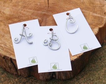 Initial Pendant, Charm, Silver, Aluminum Wire, Letter, Wire Jewelry