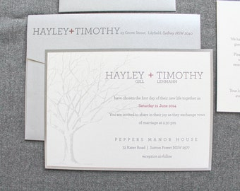Rustic Fall Wedding Invitations, Winter Wedding Invitations, Tree Wedding Invitations, Silver Wedding Invites | Hayley and Tim