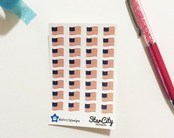 Flag Stickers, American flag stickers, Patriotic stickers, Vote Stickers, American stickers, Flag planner stickers, planner stickers- MATTE