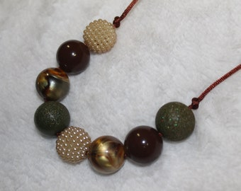 Chunky Bubblegum Necklace - Moss/Brown