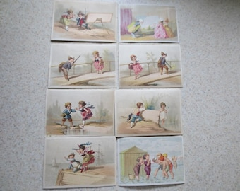 Antique Trade Cards Set of 8 Vintage Ephemera