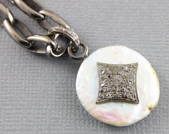 Pave Diamond Pendant, Pave Pearl Pendant, Diamond Pearl, Pave Pearl Necklace, Pave Art Deco, Pave Connector, Oxidized Silver. (DCH/PDT/1030)