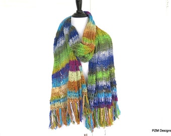 Luxury Silk Knit Shawl, Noro Hand Dyed Knit Wrap with Fringe, Gift for Her