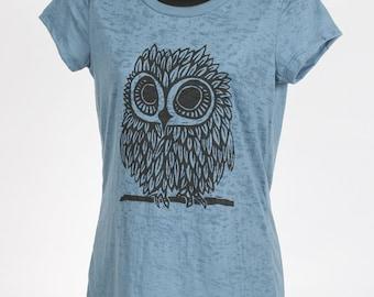 Owl on Women's Steal Blue Burnout T Shirt S, M, L, XL, XXL