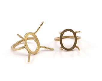 Claw Ring Blank, 4 Raw Brass Oval Ring Settings With 4 Claws, Ring Blanks N106