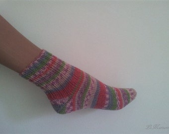 Ankle boot socks, knitted, toeless socks, Virgin Wool, stripes