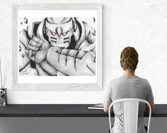 robot wall art, robot print, robot fine art, robot poster, kids room decor, robot decor, nursery print art, black & white art, robot clipart