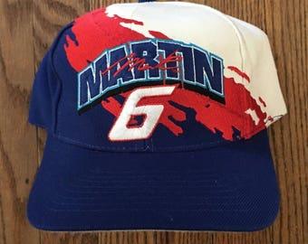 Vintage 90s Mark Martin #6 Valvoline Racing NascarPaintbrush Splash Logo Athletic Snapback Hat Baseball Cap
