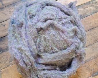 Lavender Moss batting roving half lb for spinning felting weaving
