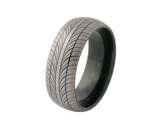 Black and Grey Tungsten  with Tire Pattern Design FREE SHIPPING