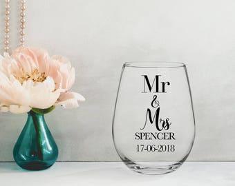 MR & MRS FOIL wine glass   gold silver rose gold copper black